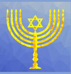 Yellow mosaic menorah vector