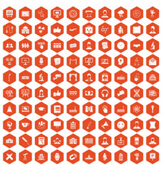 100 conference icons hexagon orange vector