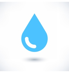 Blue water drop icon with shadow on white vector