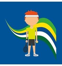 Cartoon tennis player brazilian label vector