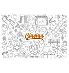 Cinema doodle set with lettering vector