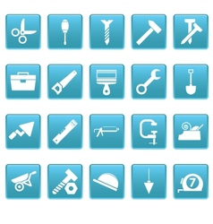 Tools icons on blue squares vector