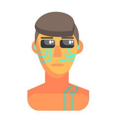 Humanized android portrait with electronic vector