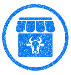 Cow farm rounded grainy icon vector