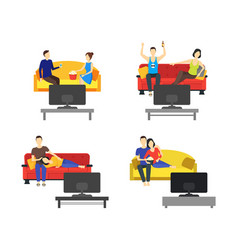Cartoon romantic couple watching tv set vector