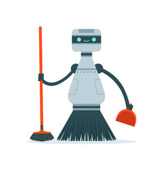 Housemaid cleaning robot character vector