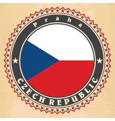 Vintage label cards of czech republic flag vector