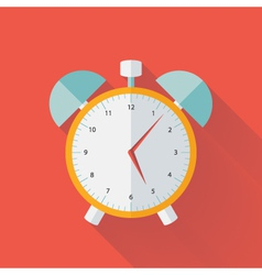 White and yellow alarm clock flat icon vector