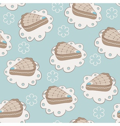 Hand drawn portion of cakes seamless pattern vector