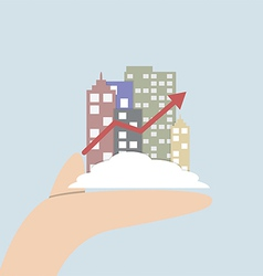 Growth city in human hand vector