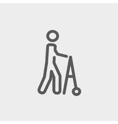 Disabled person with walker thin line icon vector