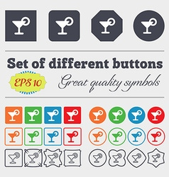 Drink cocktail with a lemon icon sign big set of vector