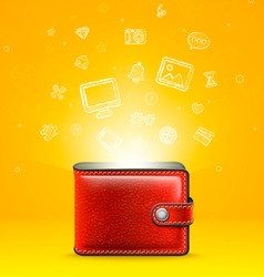 Leather wallet with glowing icons vector