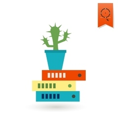 Cactus is on folders vector