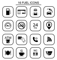 Set of gas station icons isolated vector
