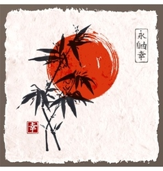 Card with bamboo and red sun vector