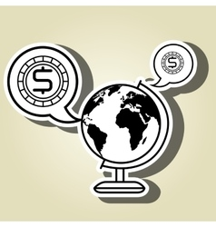 World and currency isolated icon design vector