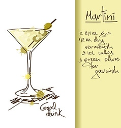 With martini cocktail vector