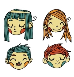 cartoon flat cute faces set icon stickers vector image
