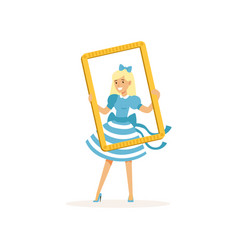 actress in blue retro dress looking through frame vector image vector image
