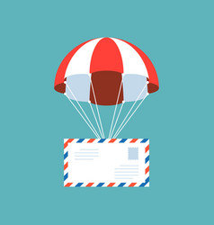 airmail envelope with parachute vector image vector image