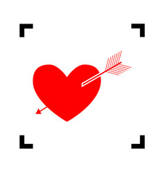 arrow heart sign red icon inside black vector image
