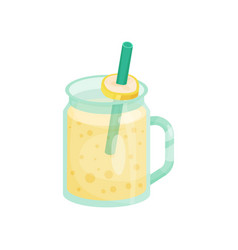 banana smoothie in a glass jar with straw cartoon vector image