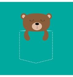 Bear sleeping in the pocket cute cartoon character vector