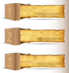 Box with old paper vector image