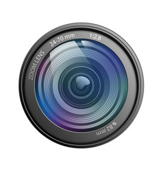 camera lens isolated on white background vector image vector image