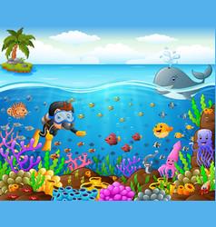 cartoon diver under the sea vector image vector image