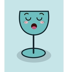 cartoon glass wine facial expression isolated icon vector image