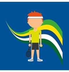 Cartoon tennis player brazilian label vector