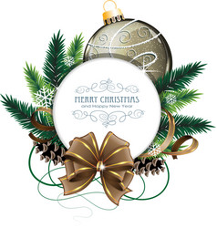 Christmas card with brown bauble vector