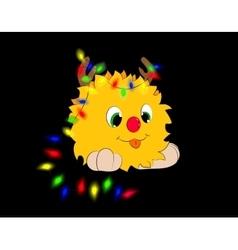 Christmas cartoon character garland black vector image