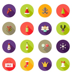 Christmas circle flat icons set 3 vector