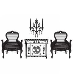 Classic biedermeier style furniture set vector