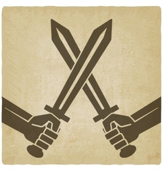 Crossed swords old background vector