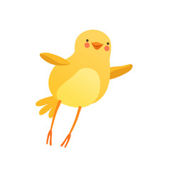 Cute baby chicken trying to fly funny cartoon vector