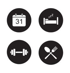 Day planning black icons set vector