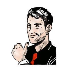 Drawing pop art man thumb up like vector