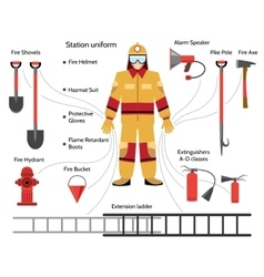 Firefighter with extinguishing icons vector