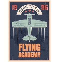 Flying Academy Retro Style Poster vector image vector image