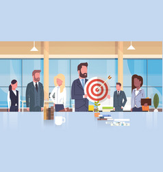 group of business people holding target teamwork vector image vector image