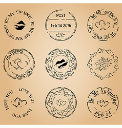 Grungy postage stamps for valentine day vector