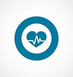 Heart pulse bold blue border circle icon vector