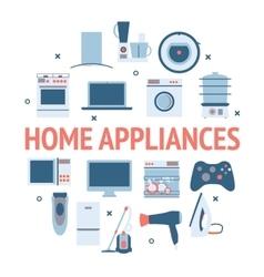 Home electronics appliances circle vector