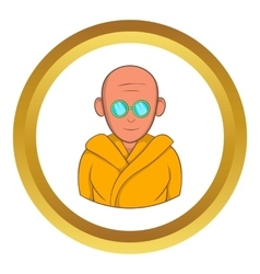 Indian monk in sunglasses icon vector image vector image