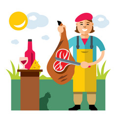 Jamon butcher shop flat style colorful vector