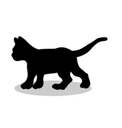 Kitten cat pet black silhouette animal vector